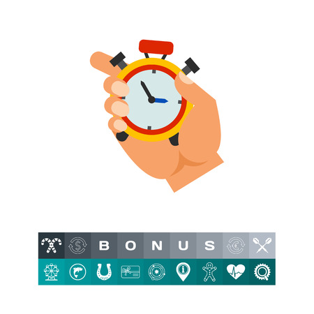 Hand Holding Stopwatch Icon Illustration
