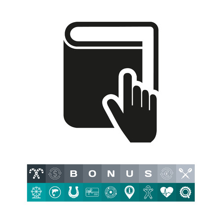 Hand pointing at book as cursor simple icon Ilustração