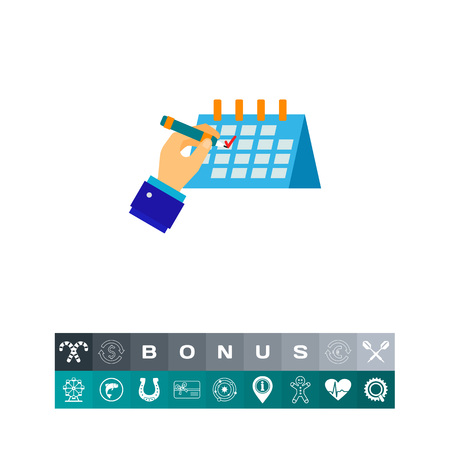 checking: Hand ticking off schedule vector icon