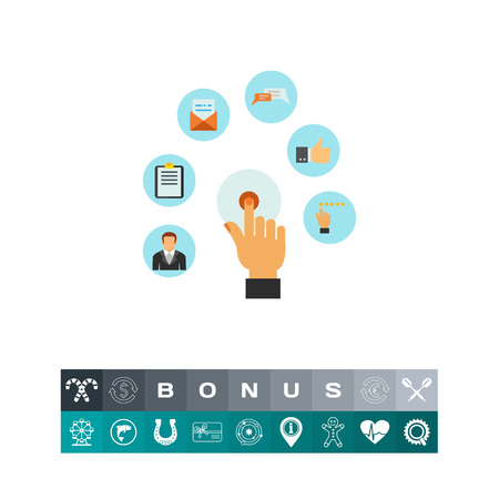 Hand touching icon as online services Illustration