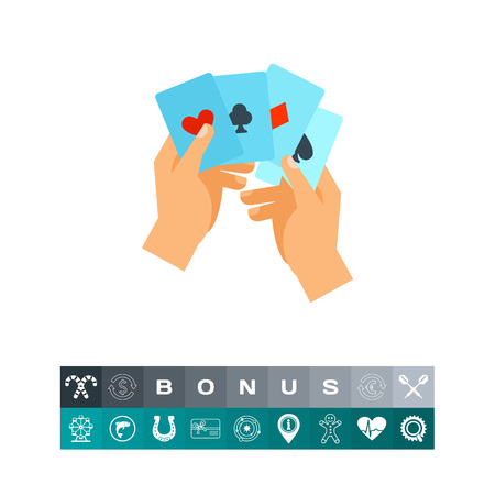 Hand with four aces vector icon