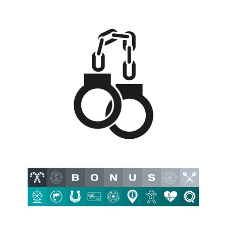 Handcuffs as policemens device icon