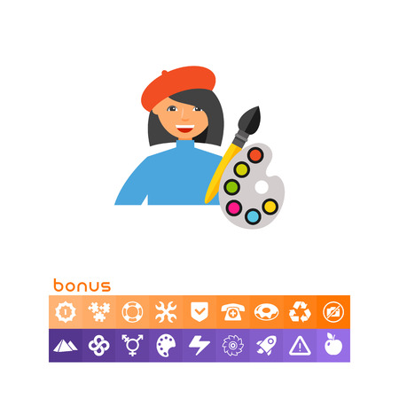 Artist with Brush and Palette Icon Illustration