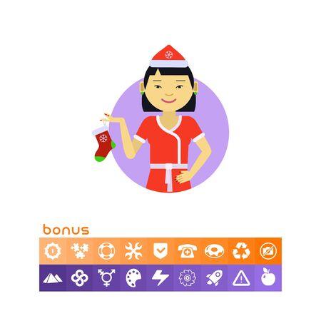 Asian woman holding Christmas sock Illustration