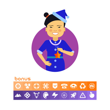 Asian woman holding star Illustration