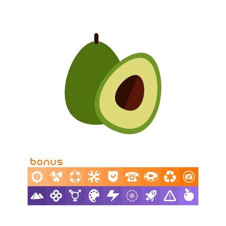Icon of avocado and cut avocado half