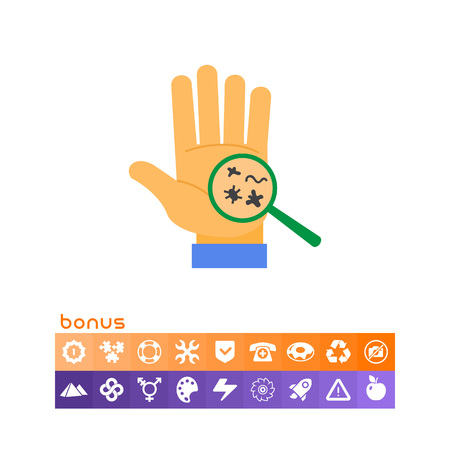 Bacteria on human palm vector illustration on white background.