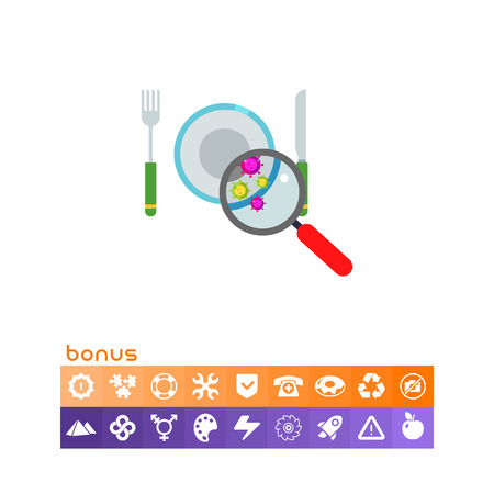Bacteria on Plate Vector Icon vector illustration on white background. Illustration