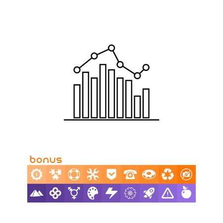 Icon of bar chart with line graph Illustration
