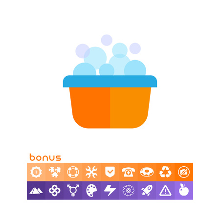 Basin with foam and bubbles vector illustration on white background.