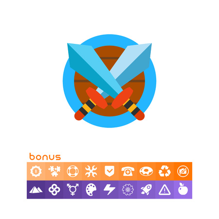 Battle Concept Icon with Crossed Swords Illustration