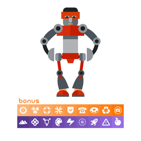 funny robot: Big humanoid robot. Funny, futuristic, intelligence. Robot concept. Can be used for topics like technology, electronics, mechanics.