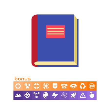 파란색 덮개가있는 두꺼운 책 아이콘 일러스트
