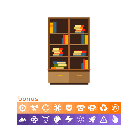 Multicolored vector icon of bookcase with books stacks on shelves