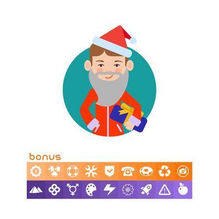 Boy in Santa costume holding gift box