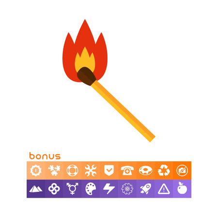 Multicolored vector icon of burning wooden match