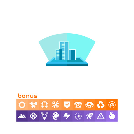 Multicolored flat icon of blue hologram, three-dimensional model of buildings Illustration