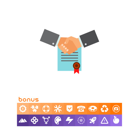 Two shaking man hands with signed contract with red seal in background. Agreement, company, partnership. Business commitment concept. Can be used for topics like business, management, finance. Illustration