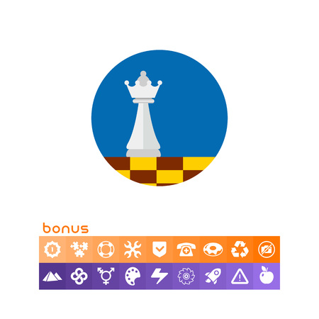 Chess queen on chessboard on blue circle background. Intelligence, plan, game. Business strategy concept. Can be used for topics like business, management, finance, planning.