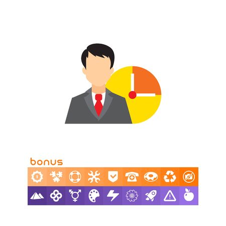 Icon of businessman and clock face Illustration