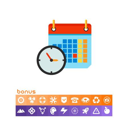 Clock and Calendar Icon Illustration