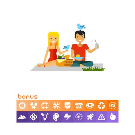 pareja comiendo: Couple On Picnic Icon. Vectores