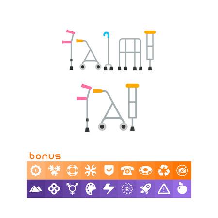 infirmity: Crutches flat icon.