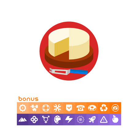 Cut Camembert Cheese Wheel with Knife Icon.