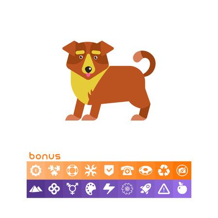 Cute cartoon dog icon. Illustration