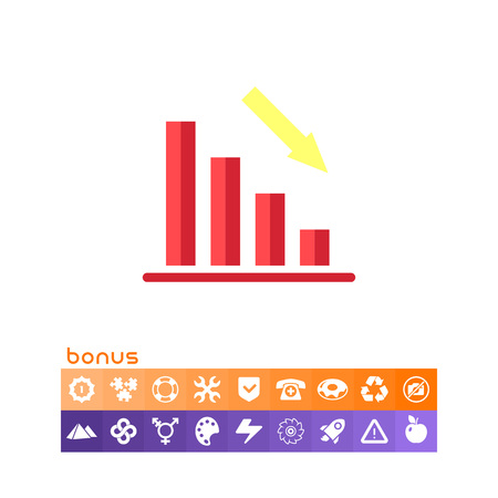 Declining bar chart illustration. Illustration