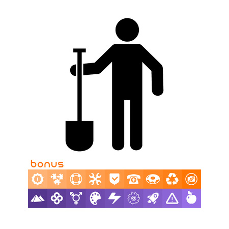 Man with spade icon.