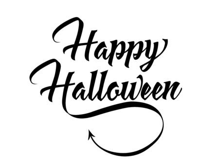 Happy halloween lettering with spikes and curvy devils tails