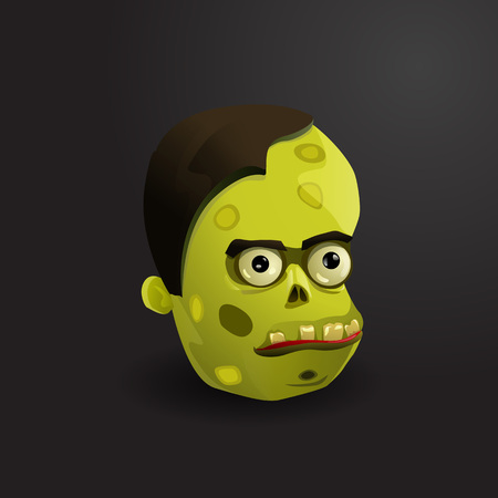 decaying: Face of zombie vector illustration on black background. Illustration