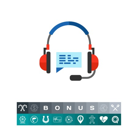 Headset and bubble as hotline concept icon