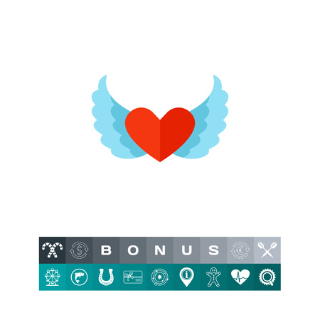 affection: Heart with wings vector icon