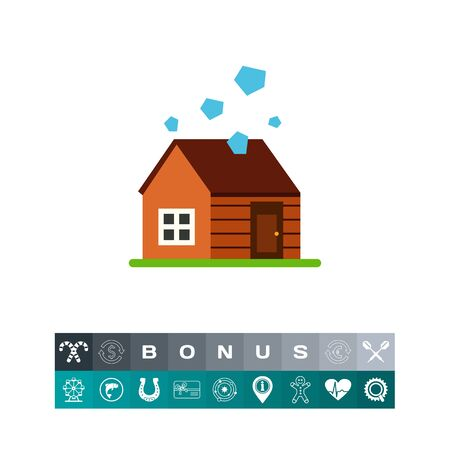 House in hailstorm vector icon Illustration