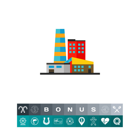 manufactory: Industrial manufactory vector icon