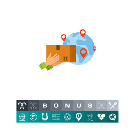 International Package Delivery Icon Illustration
