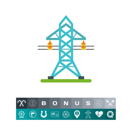 Electricity transmission tower icon Illustration