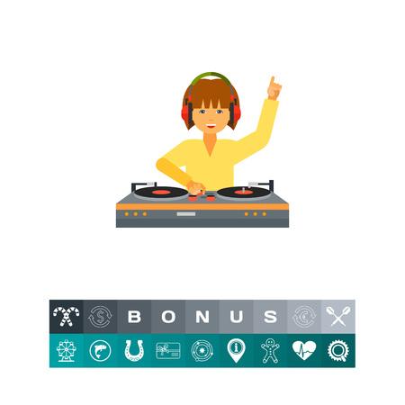 Female DJ Using Mixer Icon