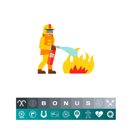 Firefighter Extinguishing Fire Icon Illustration