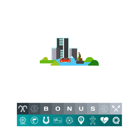 Flooded town vector icon Illustration