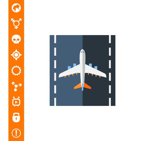 Airplane on Runway Vector Icon on white background.