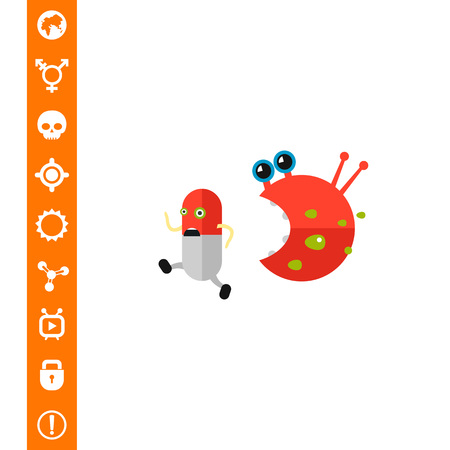 Antibiotic cartoon character running from bacteria character. Capsule, pill, infection, virus. Illustration