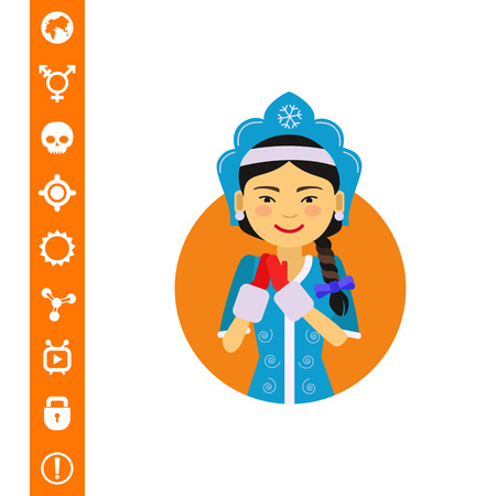 Female character, portrait of smiling Asian woman wearing fancy dress with mittens
