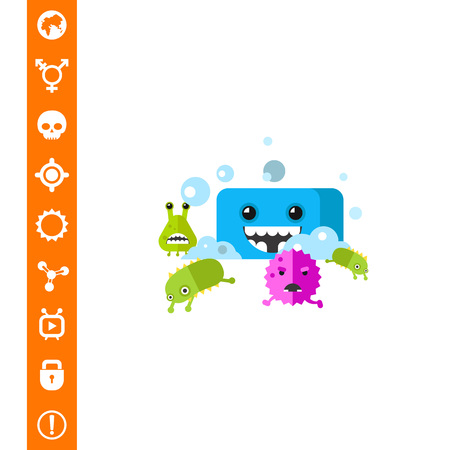 Bacteria Running from Soap Vector Icon Illustration