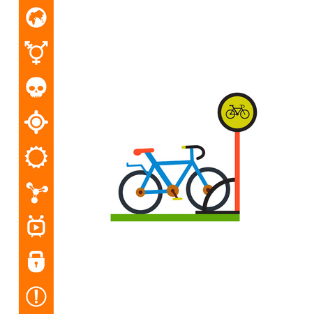 Illustration of bike and bicycle parking sign. Park, leisure activity, entertainment. Bicycle parking concept. Can be used for topics like leisure activity, parking, entertainment