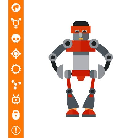 Big humanoid robot. Funny, futuristic, intelligence. Robot concept. Can be used for topics like technology, electronics, mechanics.