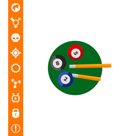 Three billiard balls and two cues on green circle. Game, leisure, table. Billiard concept. Can be used for topics like billiard, sport, entertainment. Illustration