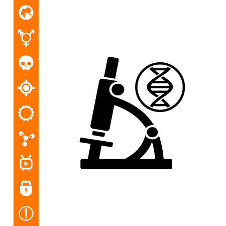 Monochrome vector icon of DNA molecule and microscope representing biology concept Illustration